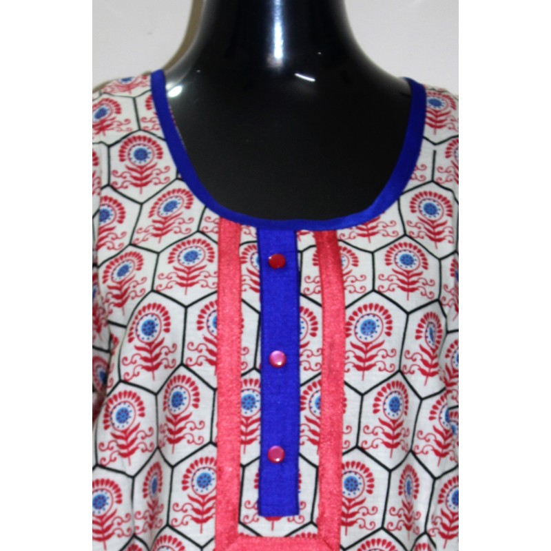 Beautiful Cotton Printed Multicolor Kurti