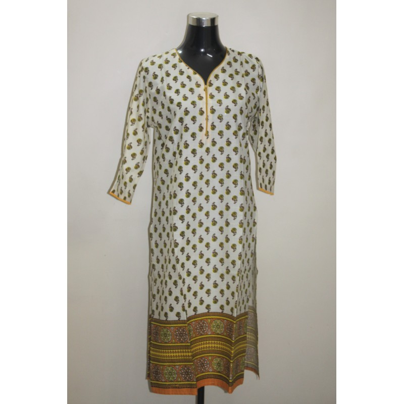 Floral Printed Cotton Casual Kurti